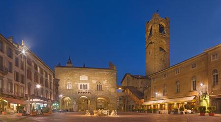 Bergamo - The Piazza Vecchia square at dusk.