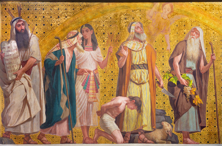 TURIN, ITALY - MARCH 15, 2017: The symbolic fresco of patriarchs Moses, Joseph, Abraham and Josue in church Chiesa di San Dalmazzo by Enrico Reffo and Luigi Guglielmino (1916).