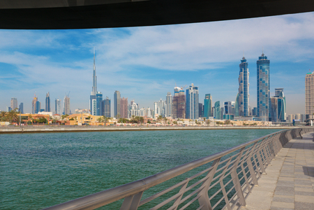 Dubai - The skyline over the new Canal and Downtown.