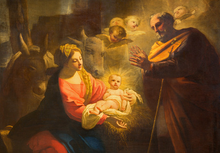 TURIN, ITALY - MARCH 13, 2017: The detail of painting of Nativity in Duomo by Giovanni Comandu da Mondovi (1795).