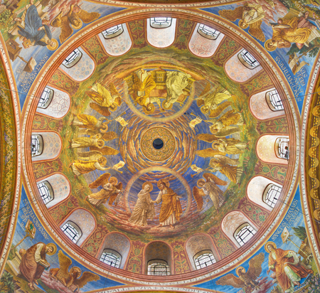 BERLIN, GERMANY, FEBRUARY - 15, 2017: The cupola of Rosenkranz Basilica by Friedrich Stummels, Karl Wenzel, and Theodor Nuttgens from begin of 20. cent. Editorial
