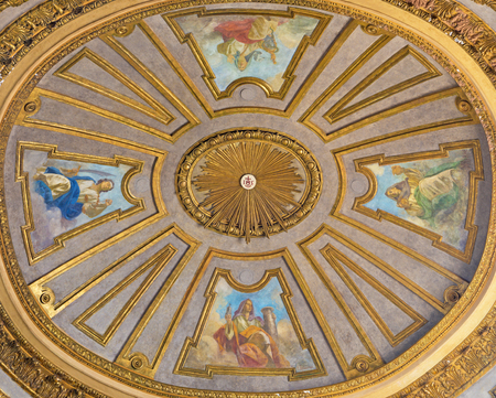 TURIN, ITALY - MARCH 14, 2017: The cupola with the fresco of virtues in church Basilica del Corpus Christi by Nicola Arduino (1948).
