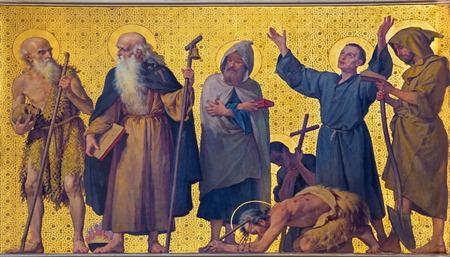 TURIN, ITALY - MARCH 15, 2017: The symbolic fresco of holy monks and eremits in church Chiesa di San Dalmazzo by Enrico Reffo (1831-1917).