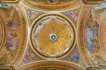 francis: TURIN, ITALY - MARCH 13, 2017: The cupola of Church Chiesa di Santo Tomaso with the frescoes of four Evangelists by C. Secchi (1963).