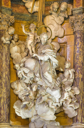 TURIN, ITALY - MARCH 13, 2017: The baroque marble statue of St. Joseph in church Chiesa di Santa Teresa by Simone Martinez (1736).