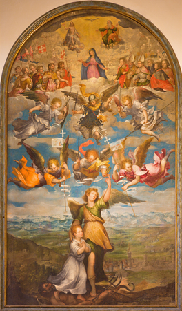 TURIN, ITALY - MARCH 13, 2017: The painting of Archangel Raphael, angels, Virgin Mary and Holy Trinity in Duomo by unknown artist of 17. cent. Publikacyjne