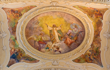 TURIN, ITALY - MARCH 14, 2017: The ceiling fresco of Glory of St. Augustine in church Chiesa di Sant Agostino by Carlo Ceppi (1887).
