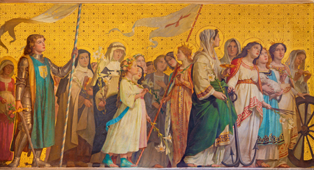 TURIN, ITALY - MARCH 15, 2017: The symbolic fresco of holy virgins in church Chiesa di San Dalmazzo by Enrico Reffo (1831-1917). 新闻类图片