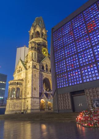 Berlin - The church Kaiser Wilhelm Gedachtniskirche at dusk.