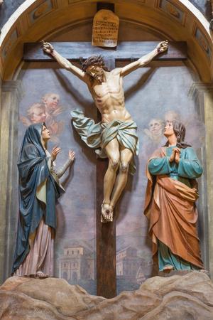 TURIN, ITALY - MARCH 13, 2017: The crucifiction sculptural group in church Chiesa di San Giuseppe by Giuseppe Ignazio Carlo Bianco (1694 ).