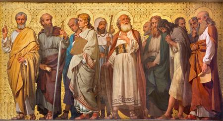 TURIN, ITALY - MARCH 15, 2017: The symbolic fresco of Twelve apostles  in church Chiesa di San Dalmazzo by Enrico Reffo (1914).