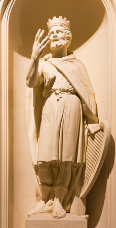 constantin: BERLIN, GERMANY, FEBRUARY - 12, 2017: The statu of king David on the facade of church Deutscher Dom rebuild after Constantin Philipp Sartori  (1747 - 1812).