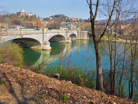 po: Turin - The Bridge Umberto I and the Mount Of The Capuchins.