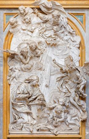 TURIN, ITALY - MARCH 14, 2017: The marble relief of Annunciation in church Basilica di Superga by Bernardino Cametti (1669 – 1736). Editorial