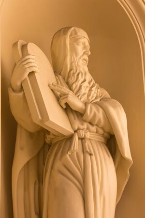 constantin: BERLIN, GERMANY, FEBRUARY - 12, 2017: The statue of Moses on the facade of church Deutscher Dom rebuild after Constantin Philipp Sartori  (1747 - 1812). Editorial