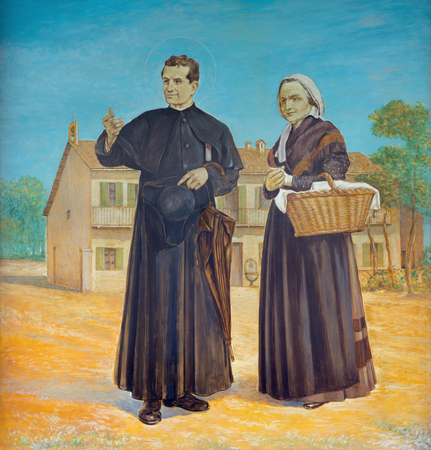 TURIN, ITALY - MARCH 15, 2017: The painting of Saint Don Bosco with his mother Margherita in church Basilica Maria Ausiliatrice by Paolo Giovanni Crida (20 cent.). Editöryel