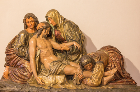 deposition: BERLIN, GERMANY, FEBRUARY - 16, 2017: The Deposition of the Cross. The carved relief on the main altar of Dominicans church of St. Pauls by unknown artist (1915). Editorial
