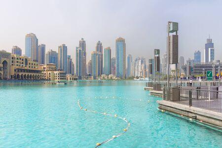DUBAI, UAE - MARCH 24, 2017: The nightly funtain in front of Burj Khalifa.