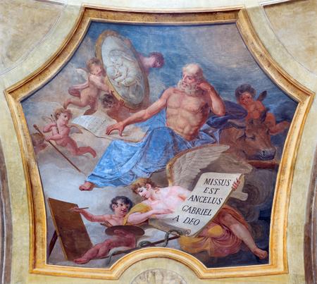TURIN, ITALY - MARCH 13, 2017: The fresco of St. Luke the Evangelist in church Chiesa di San Lorenzo by Carlo Felice (1827).