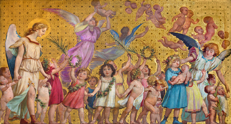TURIN, ITALY - MARCH 15, 2017: The symbolic fresco of holy innocents children with the angels in church Chiesa di San Dalmazzo by Enrico Reffo (1831-1917). 新聞圖片