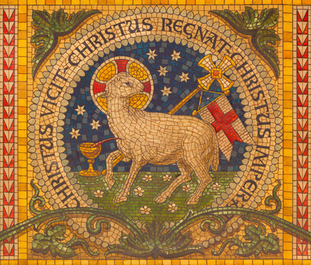 TURIN, ITALY - MARCH 15, 2017: The mosaic of Lamb of God on the altar of little chapel Capella Pinardi - the first chapel of Don Bosco the founder of Salesians by unknown artist from end of 19. cent. 報道画像