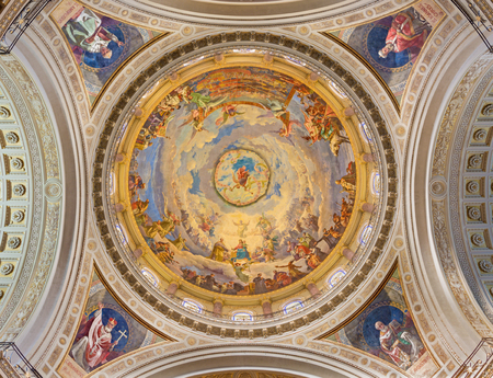 TURIN, ITALY - MARCH 15, 2017: The cupola with the fresco of Battle of Lepanto in 1571 in and Mary Help of Christians in cupola of church Basilica Maria Ausiliatrice by Giuseppe Rollini (1889 - 1891). Editorial