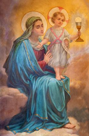 투린, 이탈리아 -2 월 201 일 : 교회 Chiesa 델라 마돈나 델 카마 인에서 마돈나의 그림의 세부 사항 에디토리얼