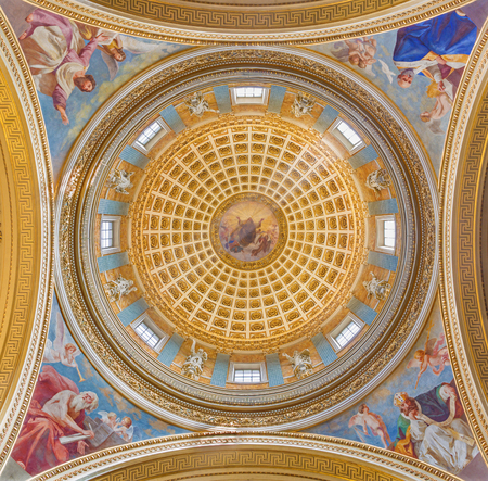 TURIN, ITALY - MARCH 16, 2017: The fresco of four doctors of west catholic church (Athanas, Augustine, Jerome, Leo) cupola of church Chiesa di San Massimo Paolo Emilio Volgari (19. cent.) Editorial