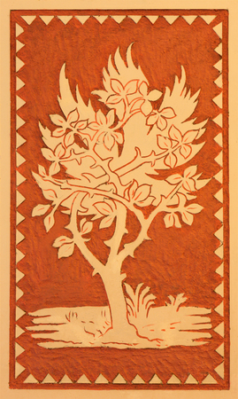 TURIN, ITALY - MARCH 15, 2017: The ceiling symbolic fresco of tree in little chapel Capella Pinardi - the first chapel of Don Bosco the founder of Salesians by Paolo Giovanni Crida (1886  - 1967).