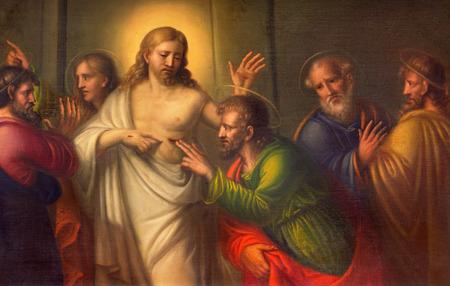 Turyn, Włochy - 13 marca 2017: Obraz wątpliwość św. Tomasza w kościele Chiesa di Santo Tomaso przez nieznanego artystę 18. centa. Publikacyjne