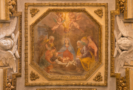 new testament: TURIN, ITALY - MARCH 15, 2017: The fresco of Nativity in church Chiesa di San Francesco da Paola by unknown artist of 17. cent.