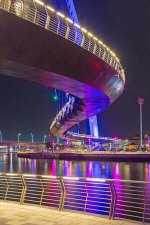 Dubai - The nightly bridge over the new Canal. Stock Photo