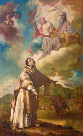 BERGAMO, ITALY - MARCH 16, 2017: The painting of The Martyrium (lapidation or stoning) of st. Stephen in church Chiesa dei SS. Bartolomeo e Stefano by Francesco Coppella (1714 - 1784).