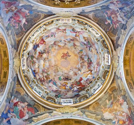 TURIN, ITALY - MARCH 13, 2017: The cupola of Chiesa della Visitazione with the fresco Glory of St. Francis of Sales by Michele Antonio Milocco  (1690 - 1772).