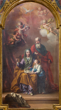 TURIN, ITALY - MARCH 13, 2017: The painting of St. Joachim, little Virgin Mary and st. Ann in church Chiesa di San Giuseppe by unknown artist of 19. cent. Editorial