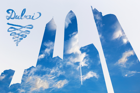 Dubai - The Illustration and pohto montage of skyscrapers and the cloudscape. Stock Photo