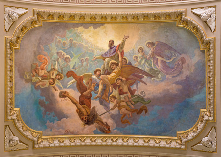 TURIN, ITALY - MARCH 15, 2017: The ceiling fresco Glory of St. Francis of Sales in church Basilica Maria Ausiliatrice by Giuseppe Rollini (1889 - 1891).