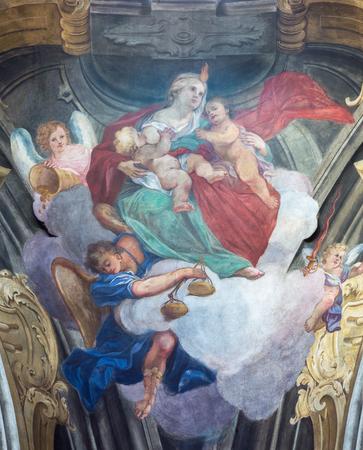 TURIN, ITALY - MARCH 13, 2017: The fresco of cardinal virtues of Love in cupola of Chiesa della Visitazione by Michele Antonio Milocco  (1690 - 1772).