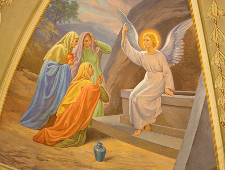 TURIN, ITALY - MARCH 13, 2017: The fresco Women Visit the Empty Tomb in Church Chiesa di Santo Tommaso by C. Secchi from bechin of 20. cent. Editorial