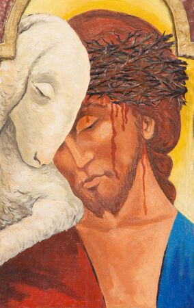 TURIN, ITALY - MARCH 15, 2017: The painting of Jesus as the Lamb of God on the Tabernacle of side altar in church Chiesa di San Francesco da Paola by unknown artist of 20. cent.