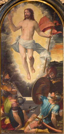 TURIN, ITALY - MARCH 13, 2017: The painting of Resurrected Jesus in Cattedrale di San Giovanni Battista by Giacomo Rossignolo (1524 - 1604)
