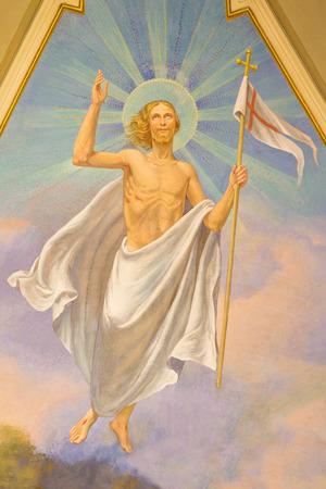 TURIN, ITALY - MARCH 13, 2017: The fresco of Resurrected Jesus in main apse of Church Chiesa di Santo Tomaso by Nicola Fava (1904).
