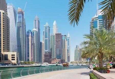 DUBAI, UAE - APRIL 1, 2017: The promenade of Marina.