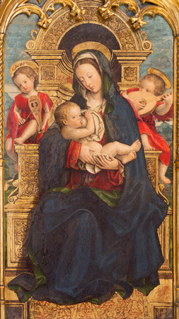 TURIN, ITALY - MARCH 13, 2017: The painting of The Nursing Madonna in Duomo by Defendente Ferrari (1511 - 1535). Editorial