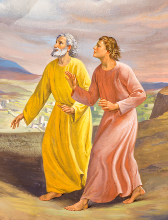 TURIN, ITALY - MARCH 13, 2017: The fresco Run of St. John and Peter to the Empty Tomb in Church Chiesa di Santo Tommaso by C. Secchi from bechin of 20. cent. Editorial