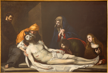 TURIN, ITALY - MARCH 16, 2017: The painting of Deposition of the Cross (Pieta) in church Chiesa di San Massimo by unknown artist.