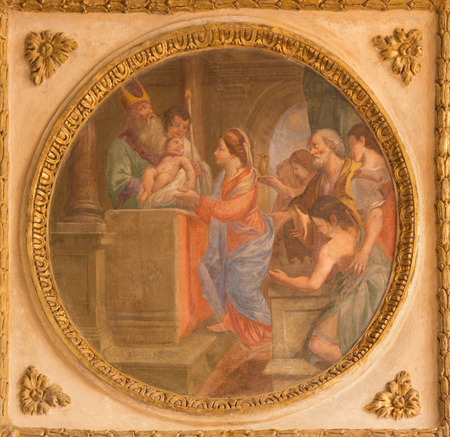 TURIN, ITALY - MARCH 14, 2017: The fresco of Presentation of the Lord in the Temple in church Chiesa di San Francesco da Paola by unknown artist of 17. cent.
