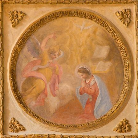 TURIN, ITALY - MARCH 14, 2017: The fresco of Annunciation in church Chiesa di San Francesco da Paola by unknown artist of 17. cent.