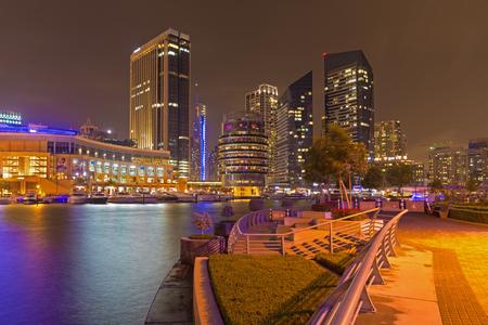 DUBAI, UAE - APRIL 25, 2017: The promenade of Marina at night.