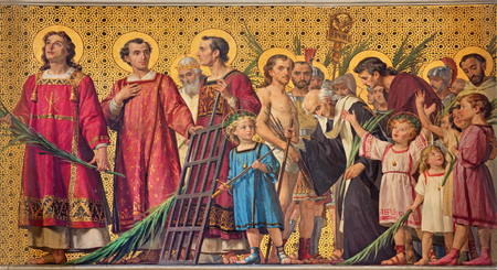 TURIN, ITALY - MARCH 15, 2017: The symbolic fresco of holy amartyrs with the in church Chiesa di San Dalmazzo by Enrico Reffo (1831-1917).